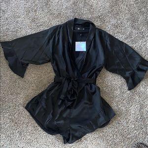 NWT black satin sexy romper